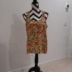 Floral Sleeveless Top with Long Back Hem
